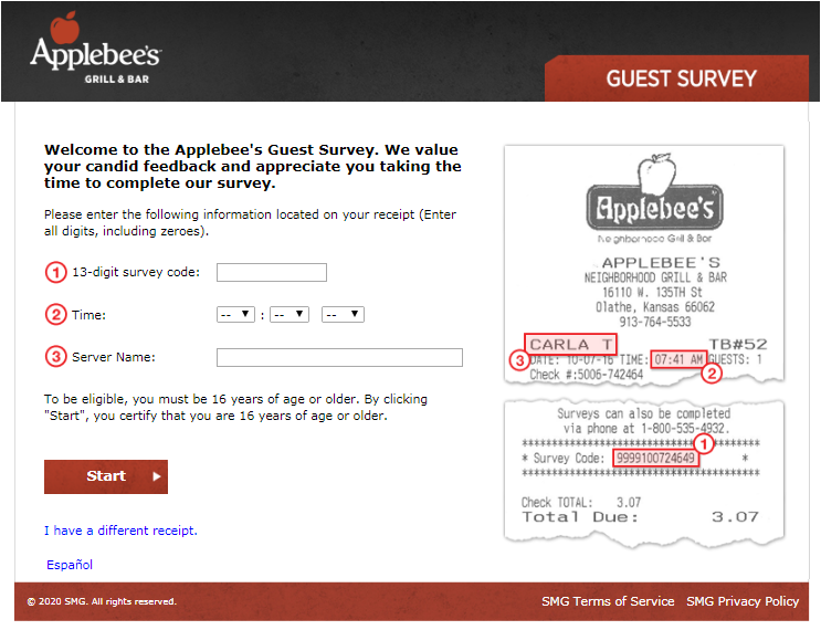 Applebee's Guest Experience Survey