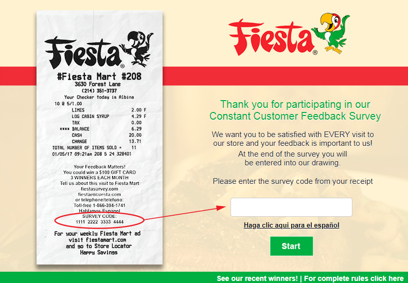 Fiesta Mart Guest Feedback Survey